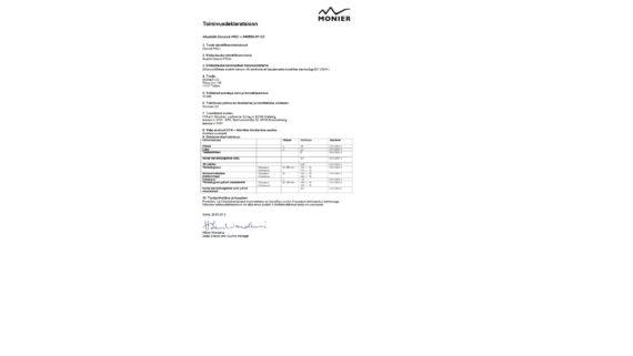 Divoroll Pro Plus aluskattekile toimivusdeklaratsioon