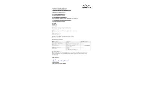 Granat 13v katusekivi toimivusdeklaratsioon