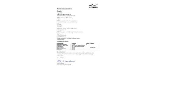Tegalit katusekivi toimivusdeklaratsioon